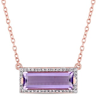 Miadora Signature Collection Rose Plated Sterling Silver African Amethyst and White Sapphire Rectangular Station Necklace