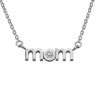 Sterling Silver Block Letter MOM Pendant with Cubic Zirconia - Mother's Day Pendant