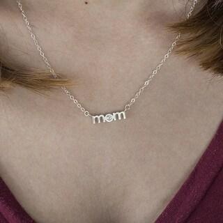 Platinum Block Letter MOM Pendant with Diamonds (0.1 Cts., G-H, SI1-SI2) (Option: Platinum)