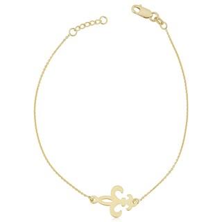 Fremada 14k Yellow Gold Adjustable Length Fleur De Lis Sideways Bracelet