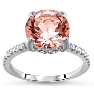 Noori 14k White Gold 1 9/10ct TGW Round-cut Morganite and Diamond Engagement Ring (G-H, SI1-SI2)