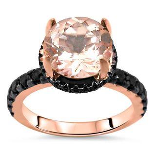 Noori 14k Rose Gold 2 1/4ct TGW Round-cut Morganite and Black Diamond Engagement Ring Set (G-H, SI1-SI2)