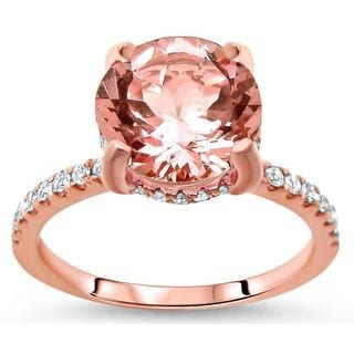 Noori 14k Rose Gold 1 9/10ct TGW Round-cut Morganite and Diamond Engagement Ring (G-H, SI1-SI2)