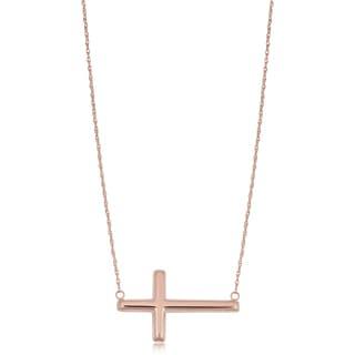 Fremada 14k Rose Gold Cross Sideways Necklace (18 inches)