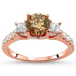 Certified Noori 18k Rose Gold 1 1/4 ct TDW Brown Round Diamond Engagement Ring