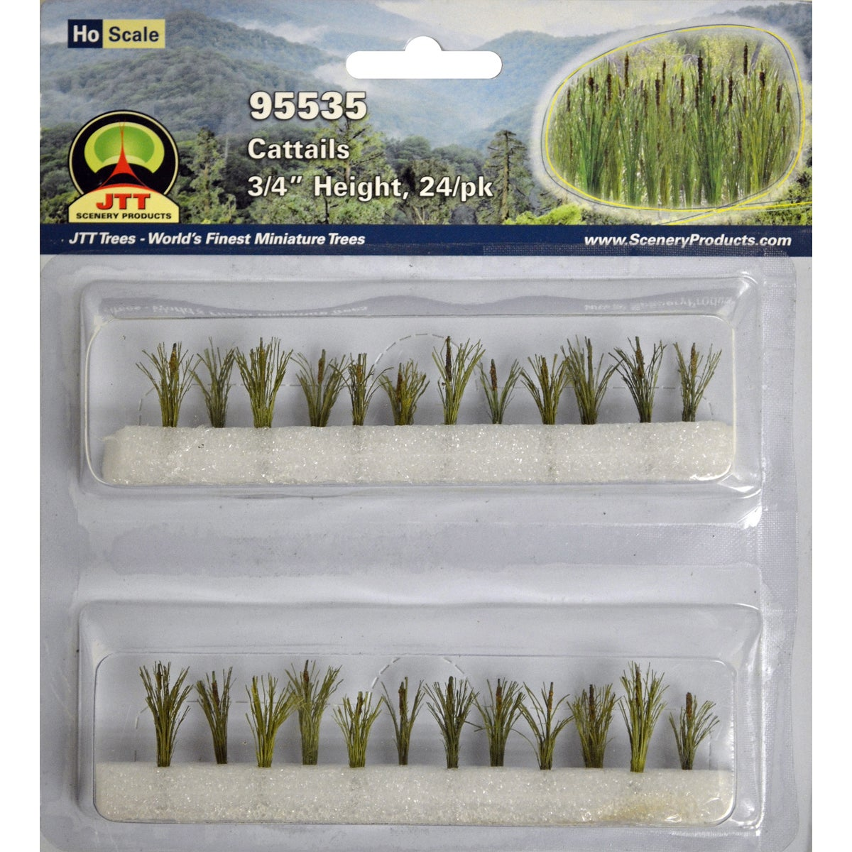 "JTT Scenery Cattails .75"" Tall 24/Pkg- (Cattails .75"" Tal..."