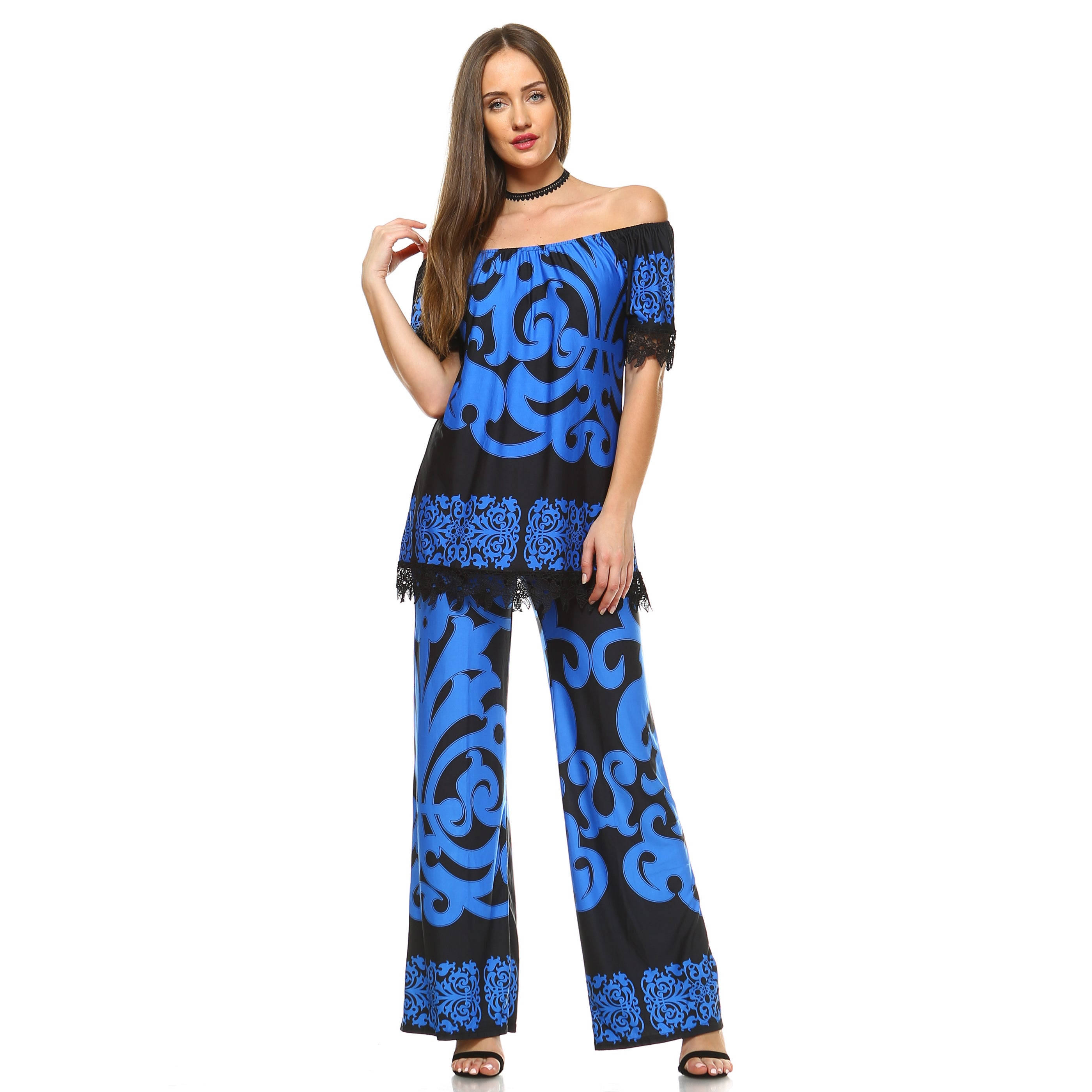 White Mark Print from Tip to Toe 2-piece Top and Pants Se...