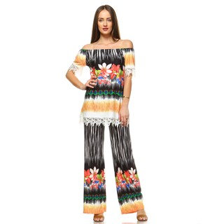 White Mark Women's Print from Tip to Toe 2-piece Top and Pants Set