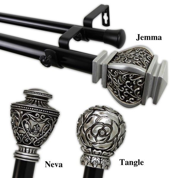 InStyleDesign 1-inch Two Tone Royalty Collection Double Curtain Rod