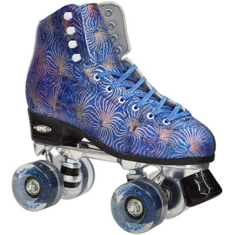 Epic Dazzle Blue High-Top Quad Roller Skates
