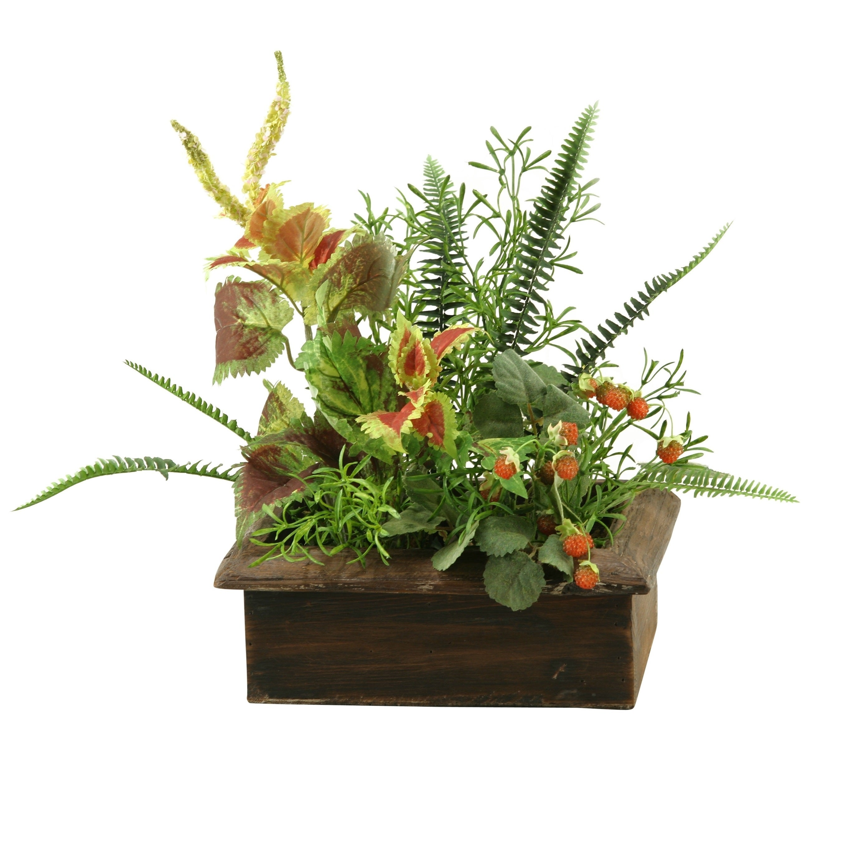 D&W Silks Wild Asparagus with Mixed Greenery in Rectangle Wood Planter Box (Planter)
