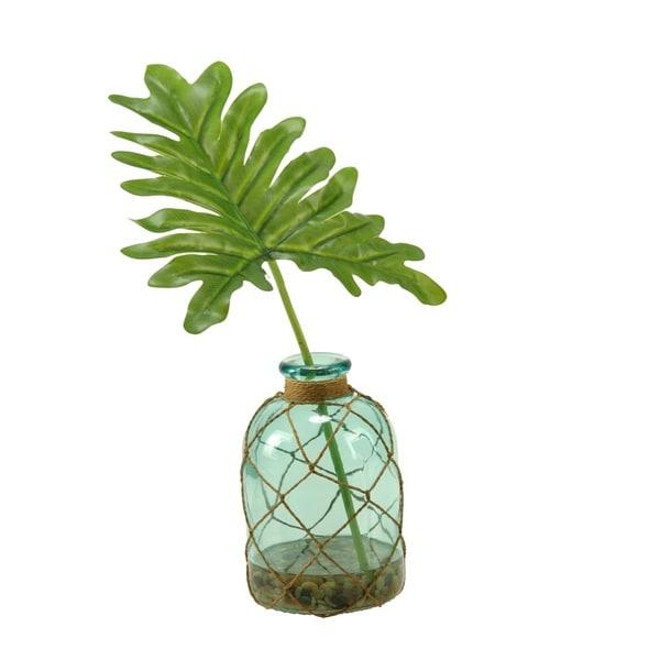 D&W Silks Selloum Philo Leaf in Blue Glass Bottle Vase