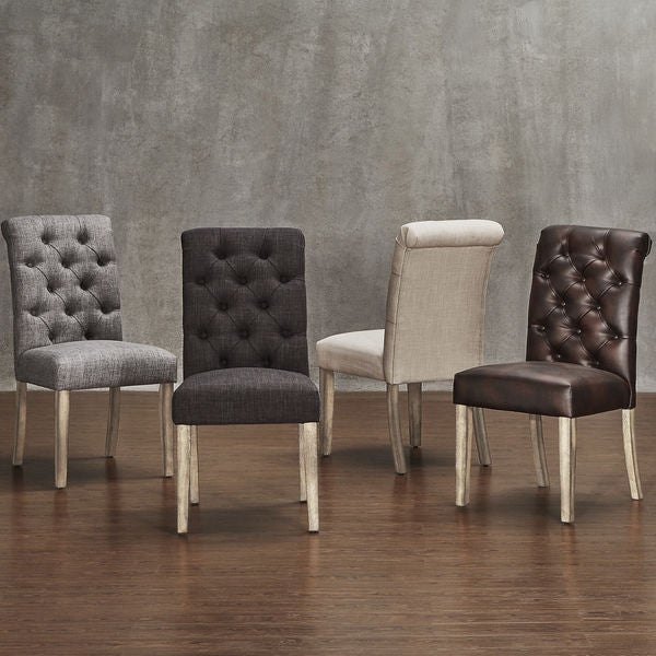 Distressed Dining Room Chairs: Shop Avingdon Tufted Rolled Back Light Distressed Natural