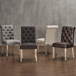 Avingdon Tufted Rolled Back Light Distressed Natural Dining Chairs (Set of 4)