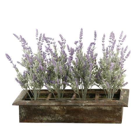 D&W Silks Lavender in Rectangle Wood Planter Box