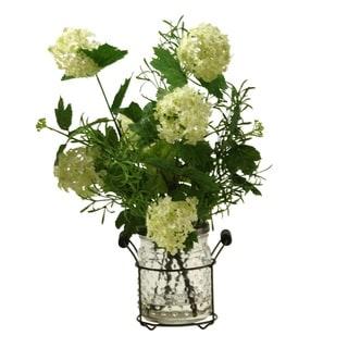 D&W Silks Cream/Green Snowball Branches in Glass Jar in Metal Holder