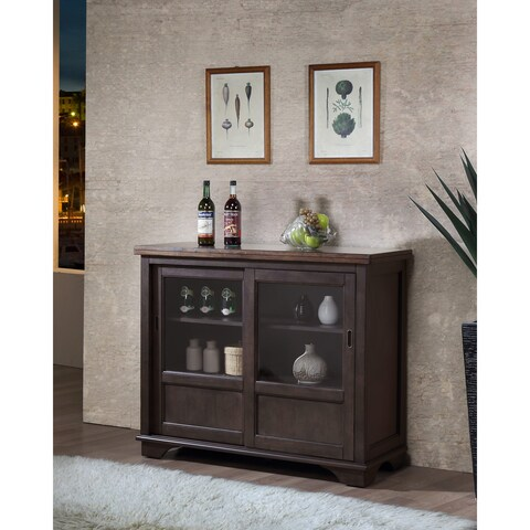 K and B Furniture Co Inc Brown Wood Wine Rack/Sideboard/Buffet/Server/Storage Cabinet with Drawers, Shelf, and Drawers