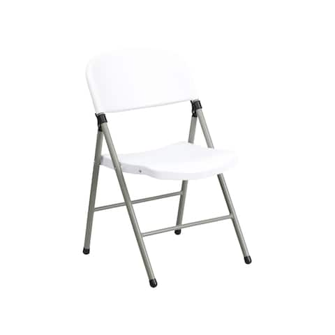 Offex 330 lb Capacity White Plastic Folding Chair with Grey Frame - 2 Pack