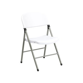 Offex HERCULES Series 330 lb Capacity White Plastic Folding Chair with Grey Frame