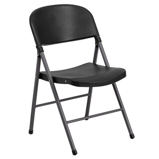 Offex HERCULES Series 330 lb Capacity Black Plastic Folding Chair with Charcoal Frame