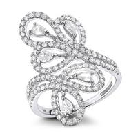 Luxurman 14k Gold 1 1/4 TDW Pear Round Diamond Floral Cocktail Ring