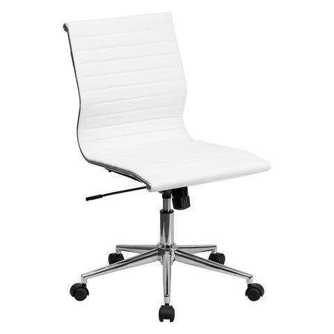 Offex Mid-Back Armless White Ribbed Upholstered Leather Conference Chair
