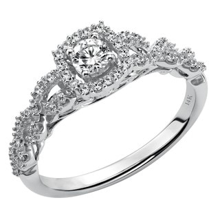 Cambridge 14k White Gold 3/ 8ct TDW Diamond Halo Engagement Ring
