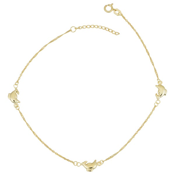14K Yellow Gold Dolphins Pendant on an Adjustable 14K Yellow Gold Chain Necklace