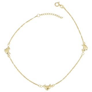Fremada 14k Yellow Gold Station Dolphin Anklet (adjusts to 9 to 10 inches)