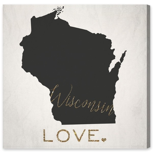 Oliver Gal 'Wisconsin Love' Canvas Art - Gold/Black
