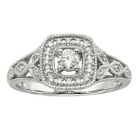 Cambridge 14kt White Gold 1/ 4ct TDW Diamond Halo Filigree Engagement Ring
