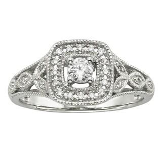 Cambridge 14kt White Gold 1/ 4ct TDW Diamond Halo Filigree Engagement Ring