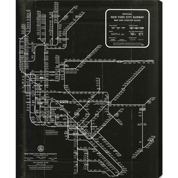 Nyc Subway Map Bedroom Wall Decal.Shop Hatcher And Ethan New York Subway Map 1958 Canvas Art Black