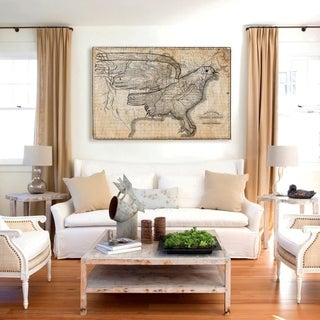 Hatcher and Ethan 'The Eagle Map of the US 1833 ' Canvas Art - Brown