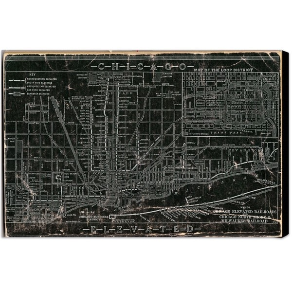 Hatcher and Ethan 'Chicago Railroad' Canvas Art - Black/White