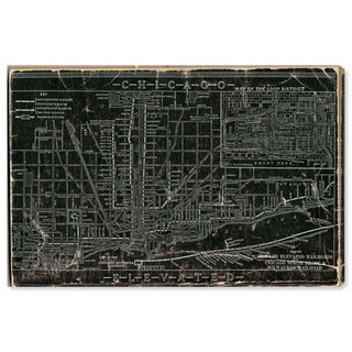 Oliver Gal 'Chicago Railroad' Maps Wall Art Print on Premium Canvas - Black, White