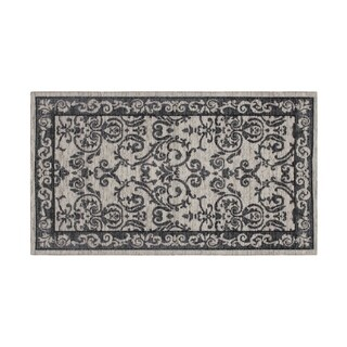Laura Ashley Halstead Border Gray Jacquard Chenille Textured Accent Rug - (5 x 8 ft.)