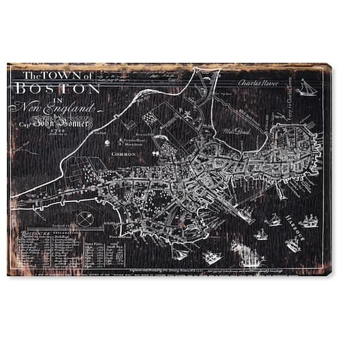 Oliver Gal 'Town of Boston Map 1722' Maps and Flags Wall Art Canvas Print - Black, White