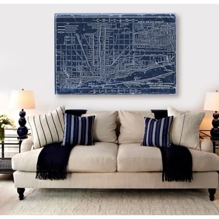 Hatcher and Ethan 'Chicago Railroad Blueprint Map' Canvas Art - Blue