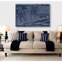 Hatcher and Ethan 'Chicago Railroad Blueprint Map' Canvas Art - Blue