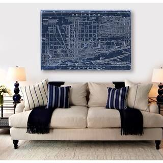 Oliver Gal 'Chicago Railroad Blueprint Map' Maps and Flags Wall Art Canvas Print - Blue, White