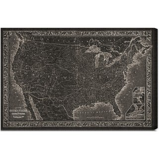Hatcher and Ethan 'United States of America Map 1864' Canvas Art