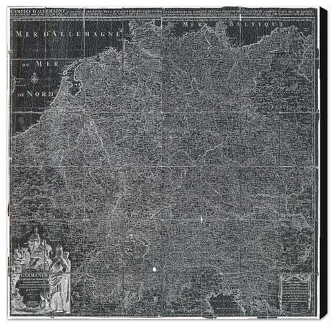 Oliver Gal 'Map of Germany 1720' Maps and Flags Wall Art Canvas Print - Gray, White