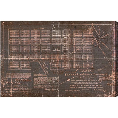 Oliver Gal 'Las Vegas Map' Maps and Flags Wall Art Canvas Print - Red, Gray