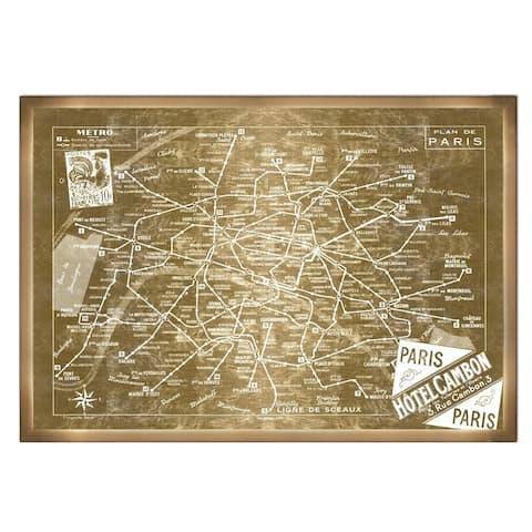 Oliver Gal '1956 Metro Map of Paris- Gold Metallic Background'Metallic Art