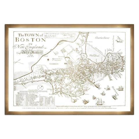 Oliver Gal 'Town of Boston Map 1722- Gold Metallic'Metallic Art