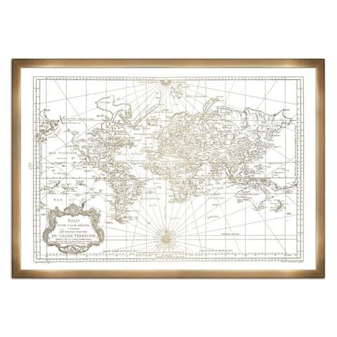 Oliver Gal 'World Map 1778- Gold Metallic'Metallic Art