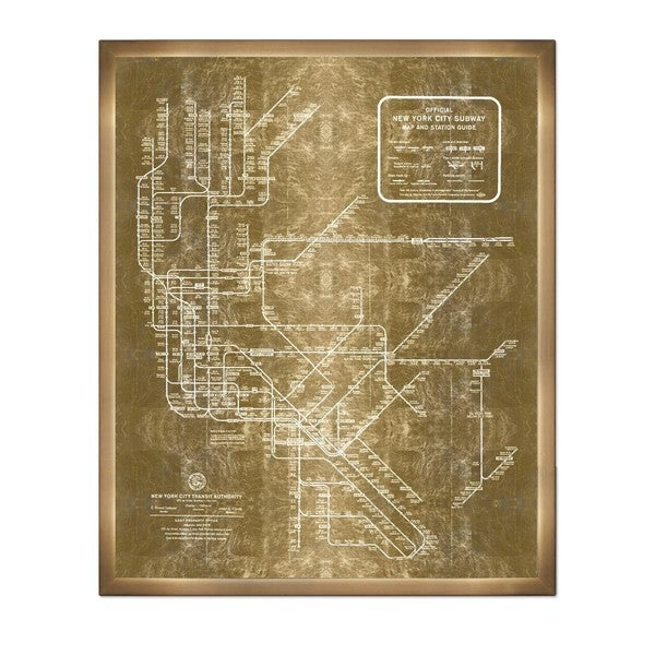 1958 New York Subway Map.Shop Olivergal New York Subway Map 1958 Inverted Gold Metallic