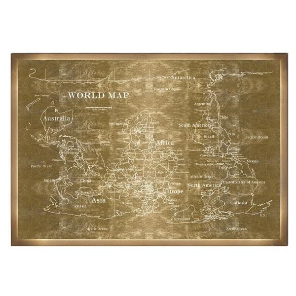 Shop Olivergal Upside Down Map Of The World Noir Inverted Gold