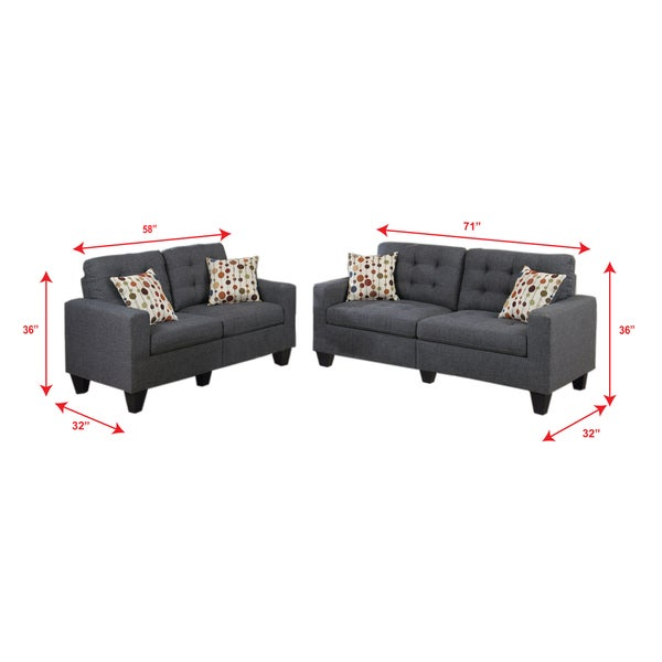 Bobkona Windsor Linen Like Poly Fabric 2 Piece Sofa And Loveseat Set   Free  Shipping Today   Overstock.com   21695257